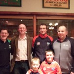 Louth player Paddy Keenan pictured with Adrian O'Donoghue, Paul McArdle, John Laverty and some juvenile players