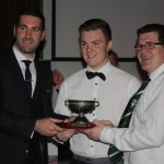 Fergal Sheeky recieving the Minor Player of the Year award from Brian Sheeky and Manger Adrain O'Donoghue
