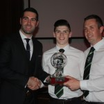 Jorden O'Donoghue recieving the Junior Player of the Year award from Brian Sheeky and Manger Micheal Shields